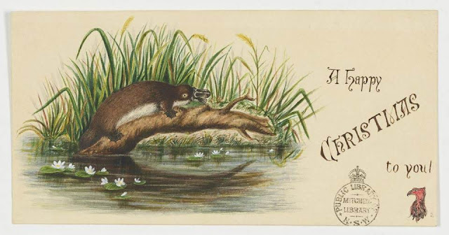 """Christmas Card design depicting a platypus resting on a log over the water with the words """"A Happy Christmas to You""""."""