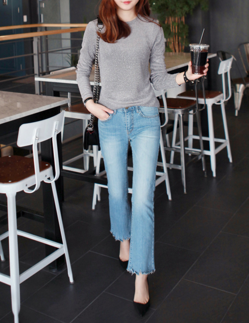 Fringed Hem Boot Cut Jeans
