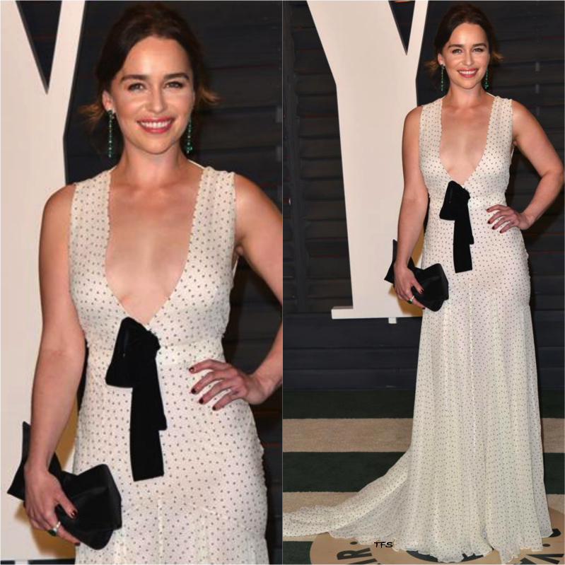 Emilia Clarke in Miu Miu at the 2016 Vanity Fair Oscar Party