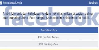 Foto sampul Facebook merupakan foto yang berada di atas atau di belakang foto profil pada Cara Menambahkan Foto Sampul Facebook