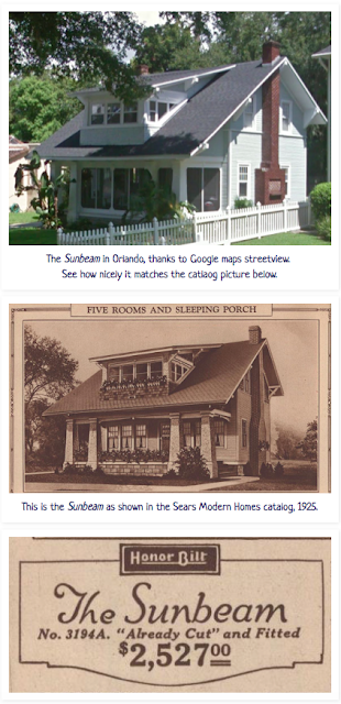 Sears Sunbeam in Orlando Florida and Sears Sunbeam in 1925 catalog