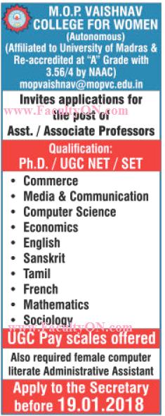 M O P Vaishnav College for Women, Chennai, Wanted Associate