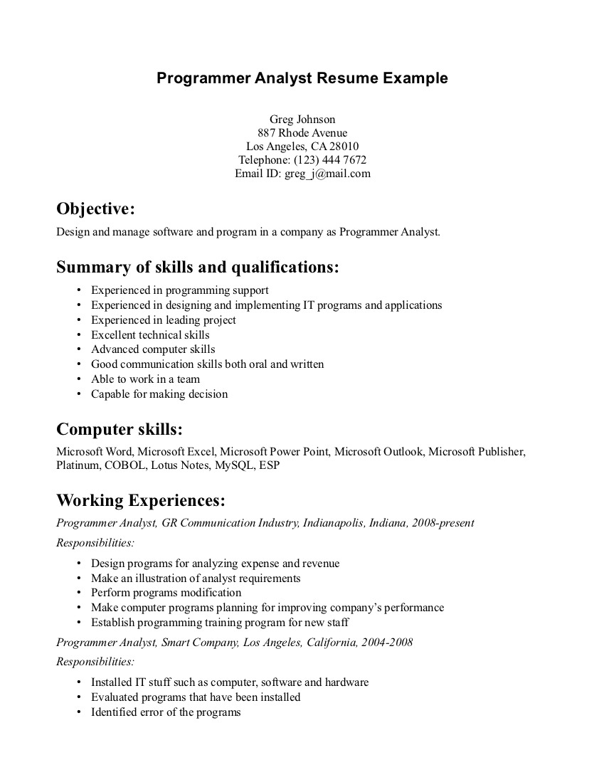 sample resume programmer