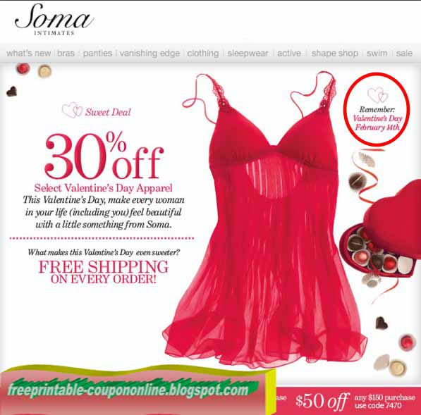 photograph relating to Soma Coupons Printable identified as Printable Discount coupons 2019: Soma Intimates Discount coupons