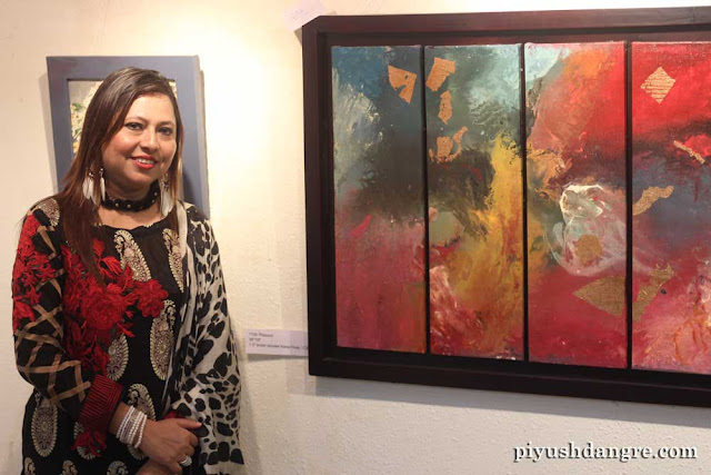 "Uzma Firdous with her piece ""The Passion"""