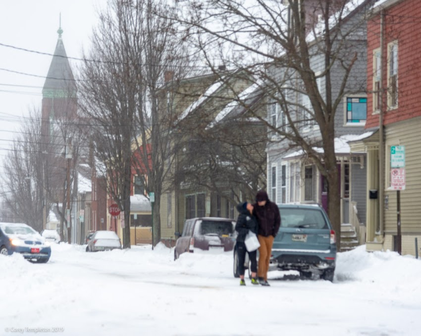 Portland, Maine USA January 2019 photo by Corey Templeton. A few other folks enjoying the snow (mostly sleet at this point) in the West End.  Clark and Gray Streets.