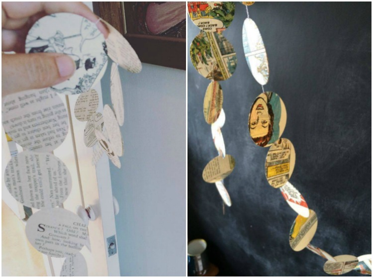 Vintage Book paper garlands: left = Monochrome, right = colour