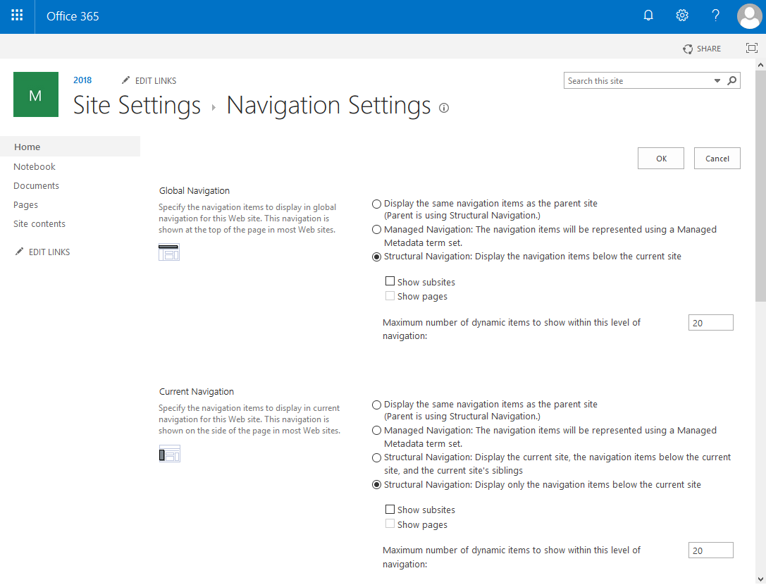 sharepoint online set navigation powershell
