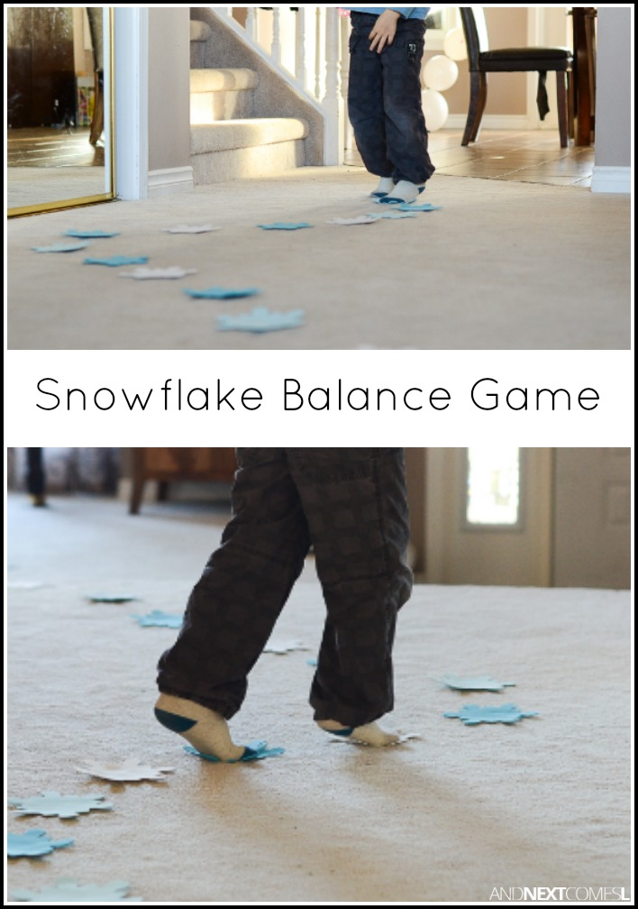 Snowflake balance game and next comes l for Winter themed gross motor activities