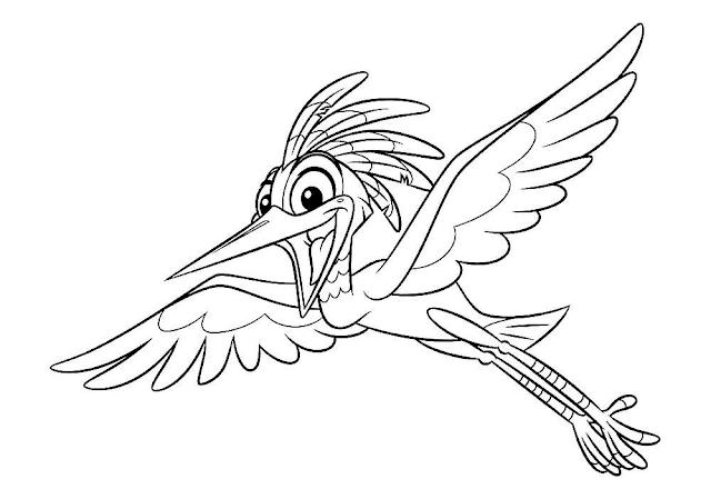 Mewarnai Gambar Burung Bangau