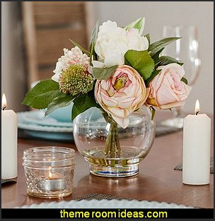 Faux Mixed Rose & Hydrangea in Glass Vase