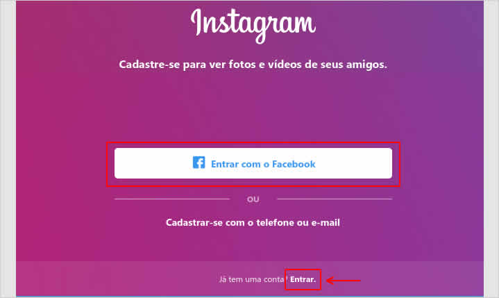 Fazendo login no Instagram no PC com Windows 10