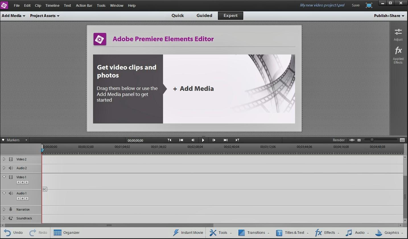 Premiere Elements 12 Editor Windows Interface.