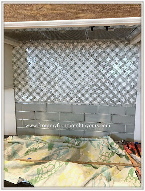 farmhouse kitchen -Subway Tile-Mosaic Flower tile-DIY-from my front porch to yours
