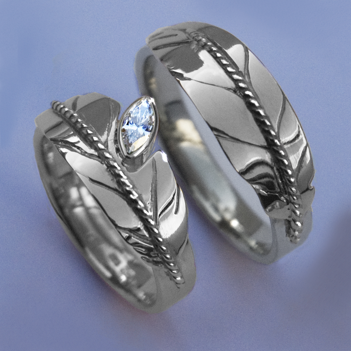 Native American Eagle Feather Wedding Ring Set Of Sterling Silver