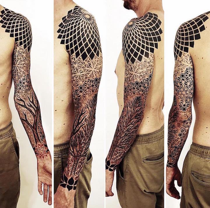 Intrincados Tatuajes Geométricos Por Brandon Crone
