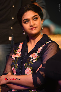 Actress Keerthi Suresh Stills in Blue Long Dress at Nenu Local Audio Launch  0010.JPG