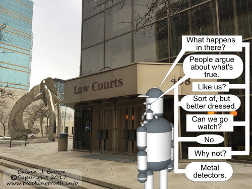 Two robots are discussing how truth is handled inside the legal system