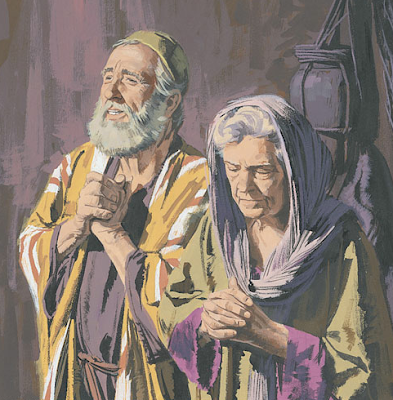 Zacharias and Elizabeth praying - Artist unknown