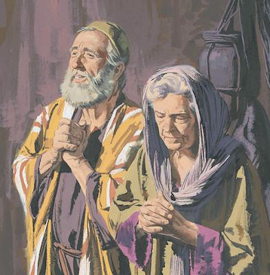 Zacharias and Elizabeth praying - Artist unknown