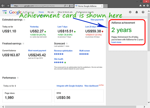 AdSense Achievement Card Location