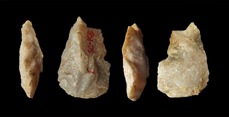 Herramientas de piedra recuperadas en China de 2,1 millones de años de antigüedad. Foto: Zhu et al./Nature