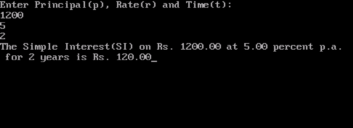Simple Interest Output