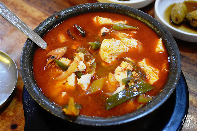 spicy tofu stew with shrimp, mussels, and squid