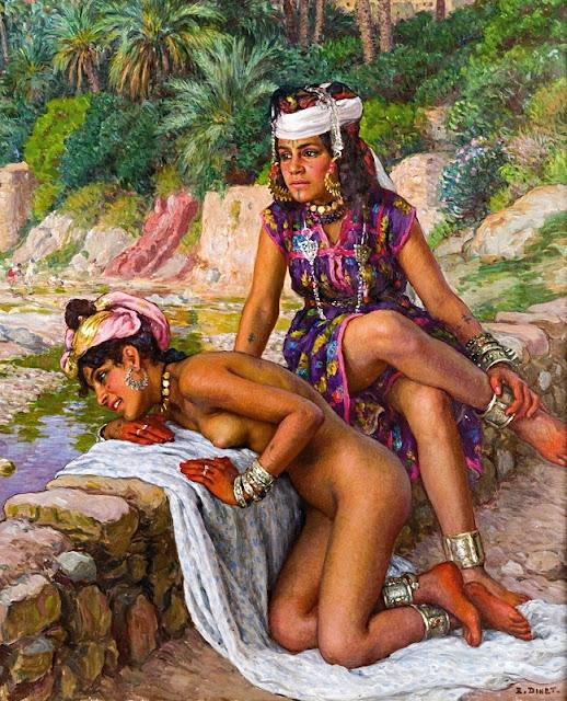 Nasreddine Dinet - Giovani bagnanti in riva allo uadi - erotismo - arte