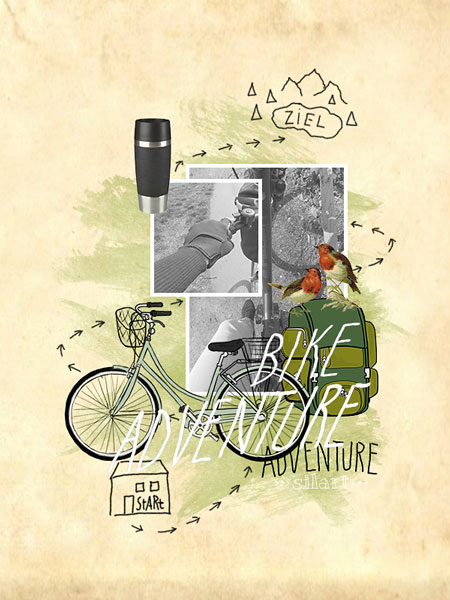 Bike Adventure, Illustration, Collage