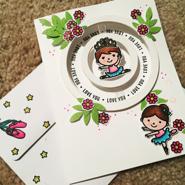 Sunny Studio Stamps: Tiny Dancers Spinner Customer Card by Traci Erickson