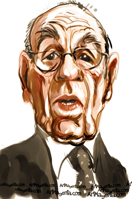 Rupert Murdoch  caricature cartoon. Portrait drawing by caricaturist Artmagenta