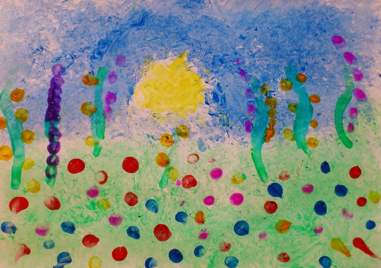 Câmp cu flori: tamponare (fond) + dactilopictură (flori)