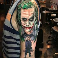 Tatuaje de The Joker Heath Ledger cara y cuerpo