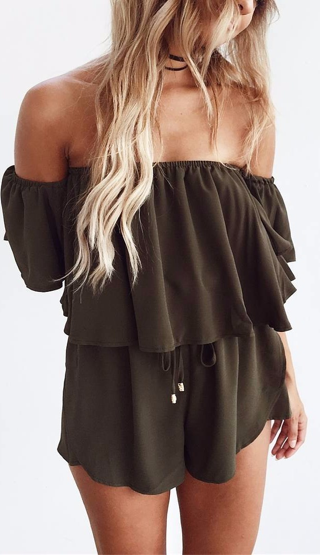 khaki trends: flirty romper
