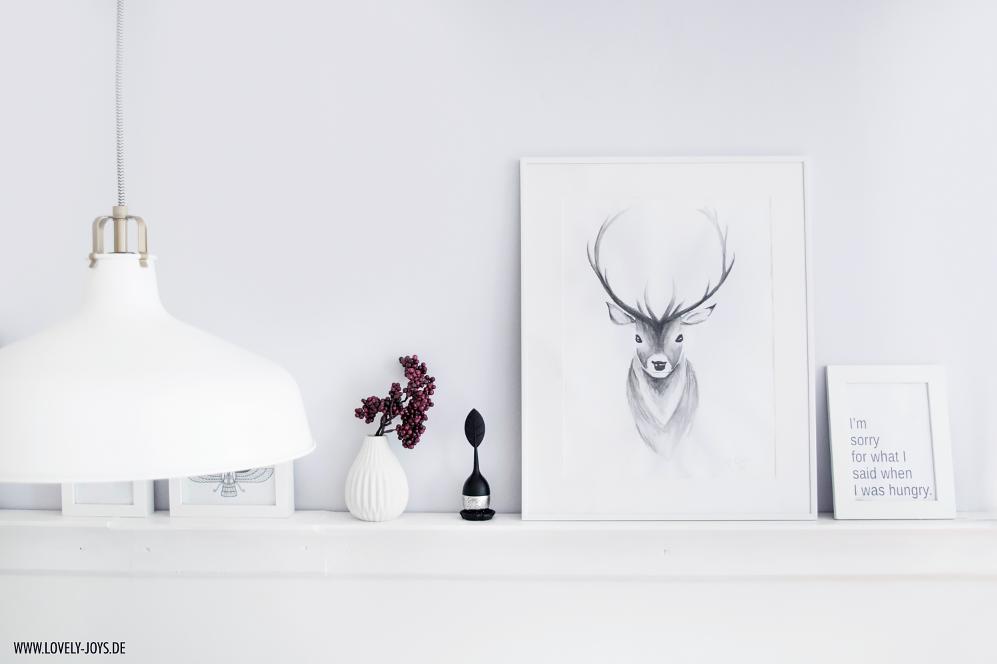 Hirsch Wasserfarbenbild nordisch skandinavisch design