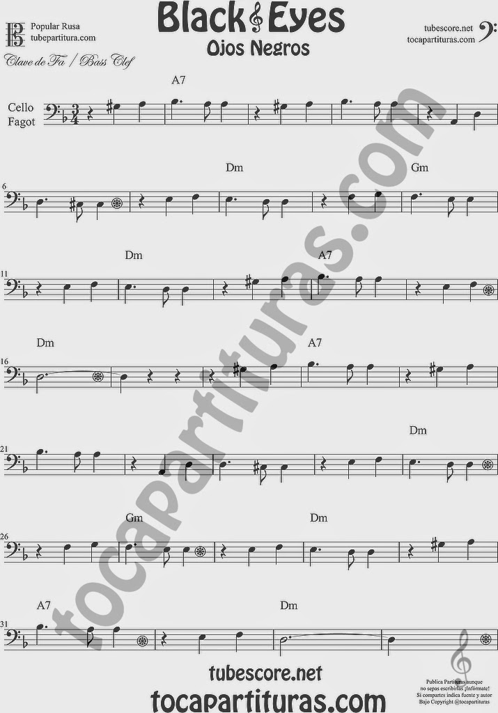 Ojos Negros Partitura de Violonchelo y Fagot Sheet Music for Cello and Bassoon Music Scores Black Eyes Popular Rusa