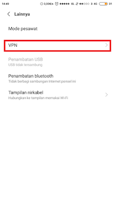 Lokasi setelan vpn android