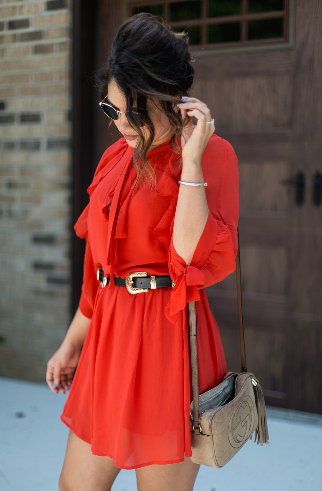 flowy red dress
