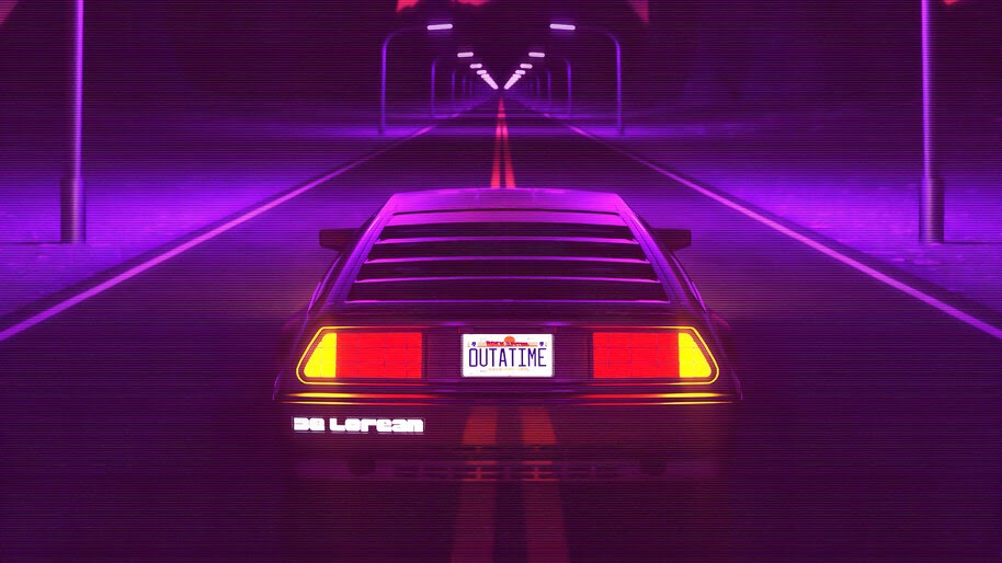 DeLorean, Synthwave, Night, Road, 4K, #6.2170