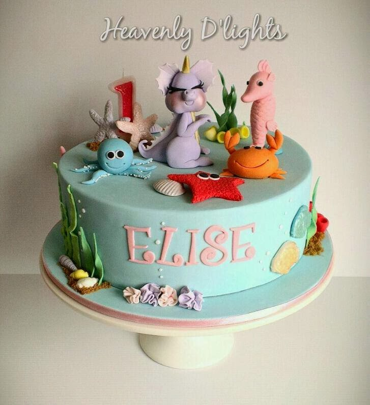 Heavenly Dlights Under The Sea Cake For Elises 1st Birthday