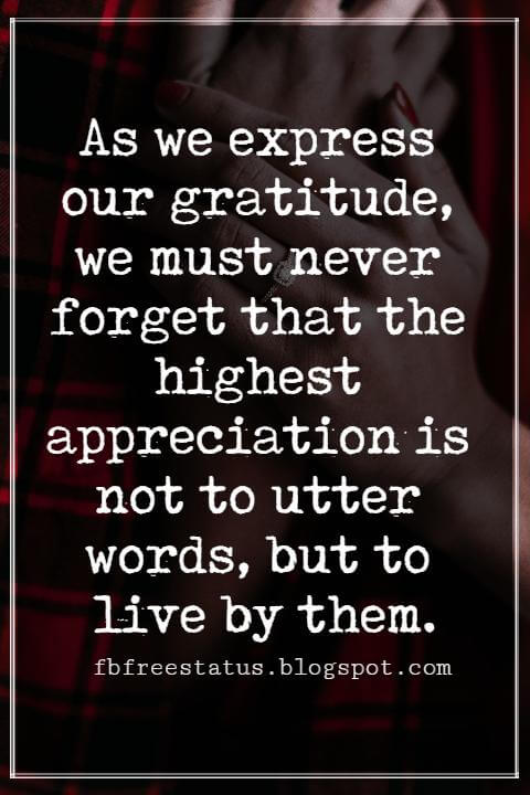 Inspirational Quotes For Thanksgiving, As we express our gratitude, we must never forget that the highest appreciation is not to utter words, but to live by them.