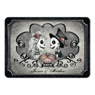 Round Corners Halloween Gray & Black Skeleton Love Together With Wording Wedding Invite