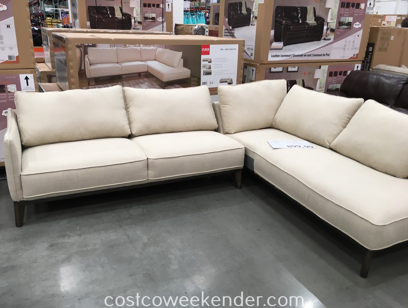 sofa costco ca sleeper memory foam kuka home fabric sectional weekender