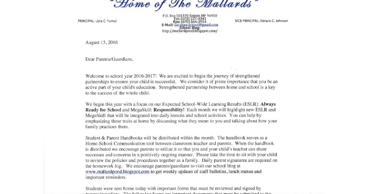 The Mallard Pond SY 16-17 Welcome Back Parent Letter from the Principal