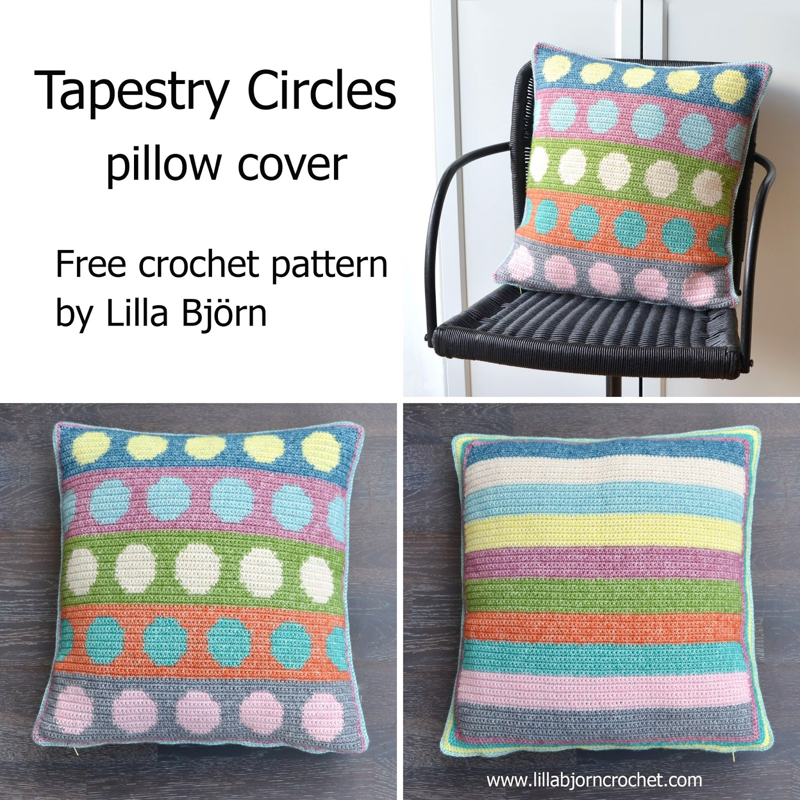 Tapestry circles pillow free crochet pattern lillabjrns crochet pillow cover with colorful circles made in tapestry crochet free pattern by lilla bjorn bankloansurffo Gallery