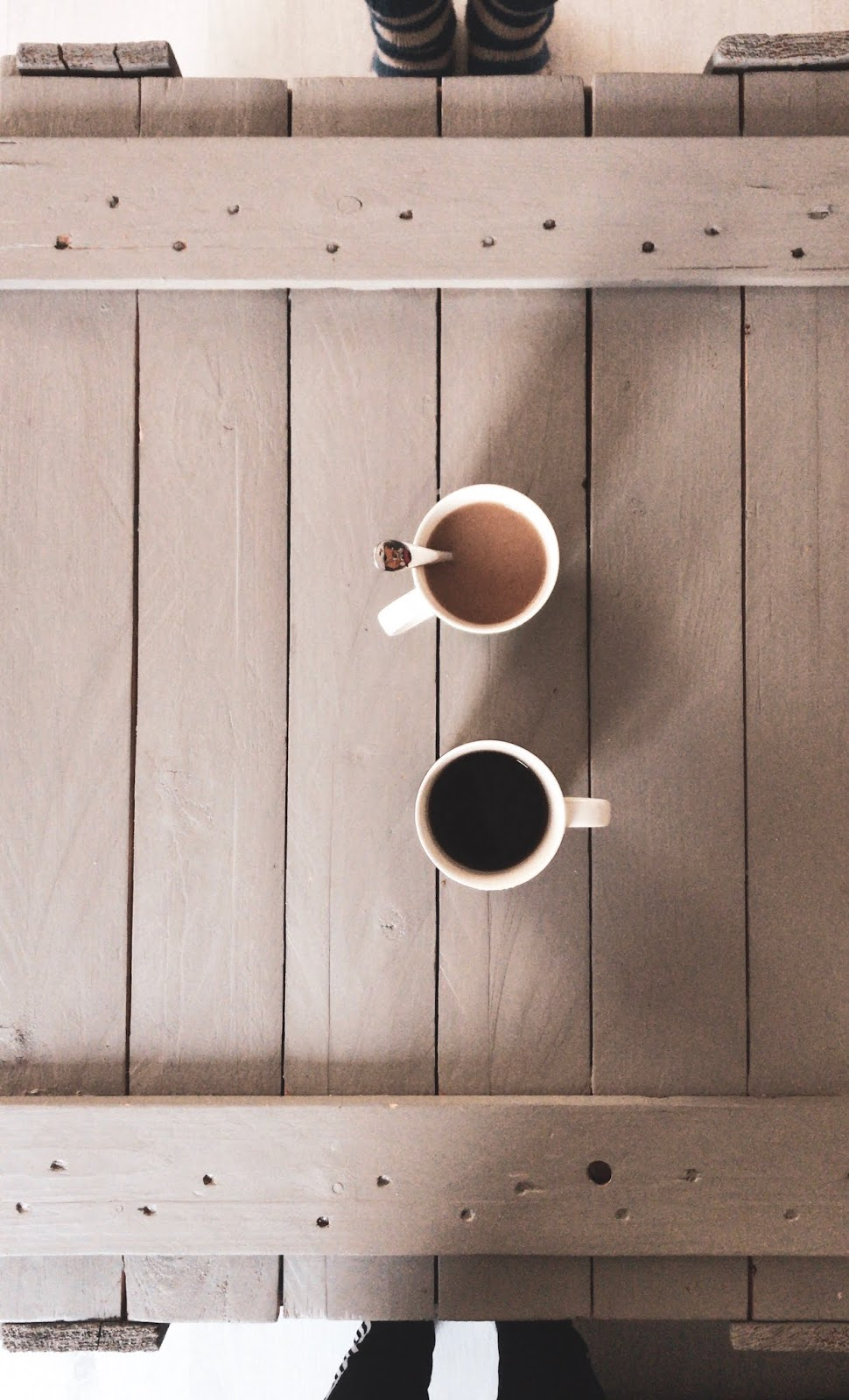 top down picture of two coffee cups on a wooden table