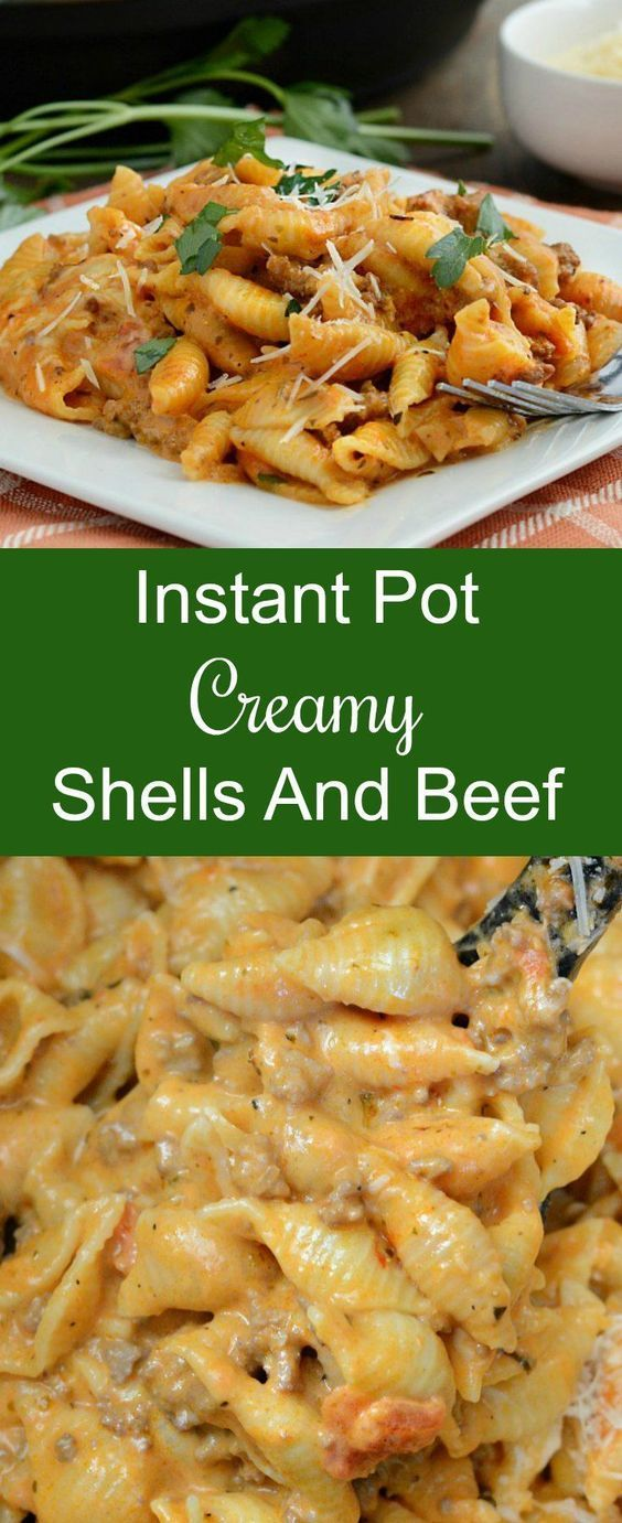Instant Pot Creamy Shells and Beef is an easy one pot dinner made entirely in the pressure cooker. It's like homemade hamburger helper, with ground beef and pasta in a tomato cream sauce and very kid friendly!