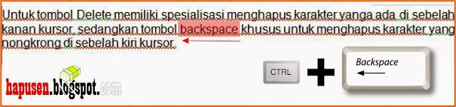 kombinasi menghapus dengan backspace