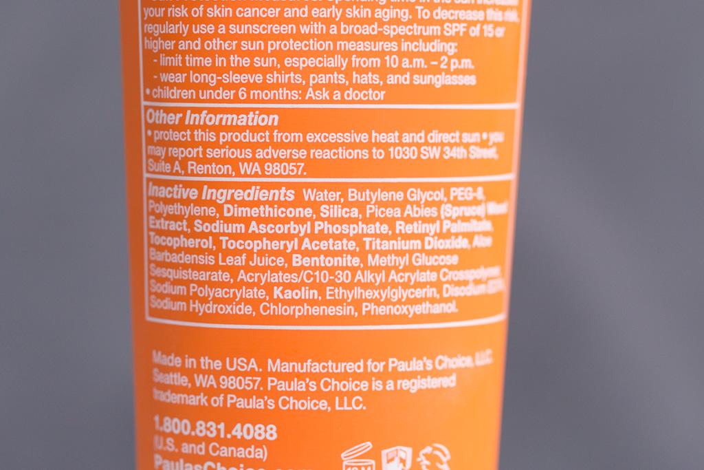Sonnenschutzcreme chemisch Paula's Choice Extra Care Non Greasy Sunscreen SPF 50 Rueckansicht Inhaltsstoffe